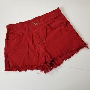 BRANDY MELVILLE Button Front Cutoff Raw Hem Shorts